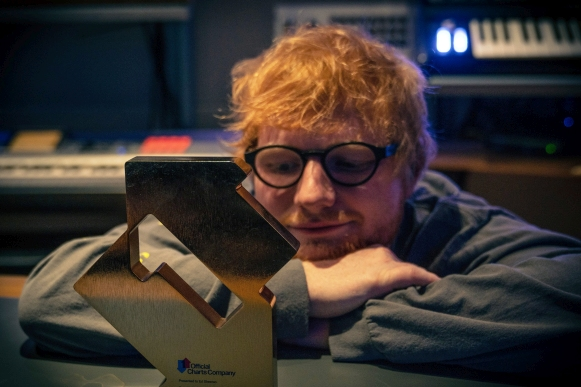 Ed Sheeran with his Official Number 1 Award for No.6 Collaborations Project (Credit: OfficialCharts.com)