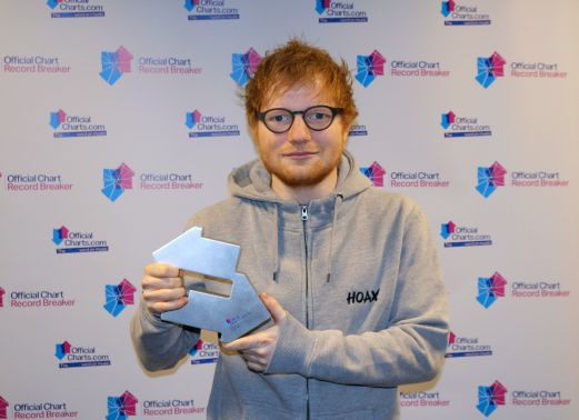 Ed Sheeran with his Number 1 Award from the Official Charts Company for Shape Of You. [CREDIT: OfficialCharts.com]