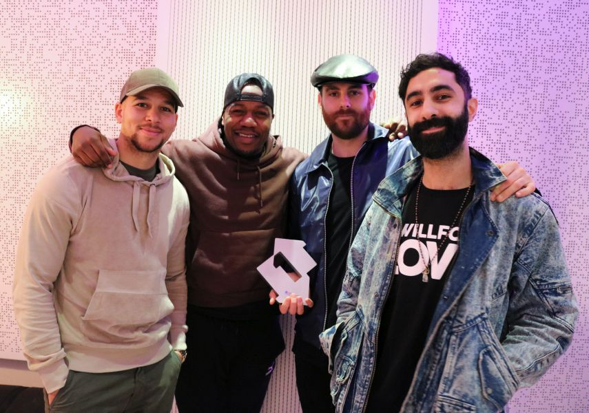 Rudimental with their Official Number 1 Single Award for These Days. Credit: OfficialCharts.com