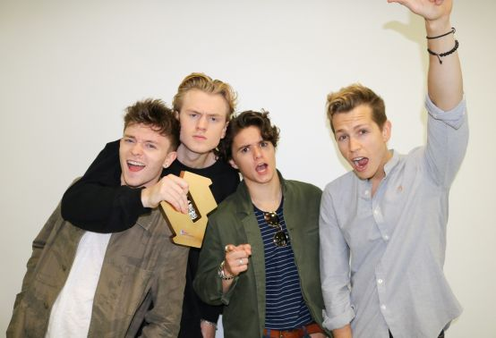 The Vamps with their Official Number 1 Album Award for Night & Day [credit OfficialCharts.com]
